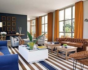 120万打造清新地中海风格客厅窗帘装修效果图大全2014图片