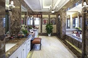 美式风格时尚豪华大户型别墅卫生间有浴室洗脸盆镜子吊顶大理石瓷砖装修图片