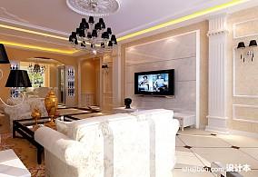 创意客厅白色电视柜效果图