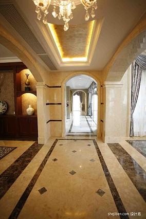 2013欧式风格别墅家居走廊过道吊顶吊灯地面拼花装修效果图