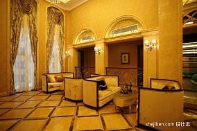 欧式风格别墅家居室内会客厅过道窗帘地面拼花装修效果图