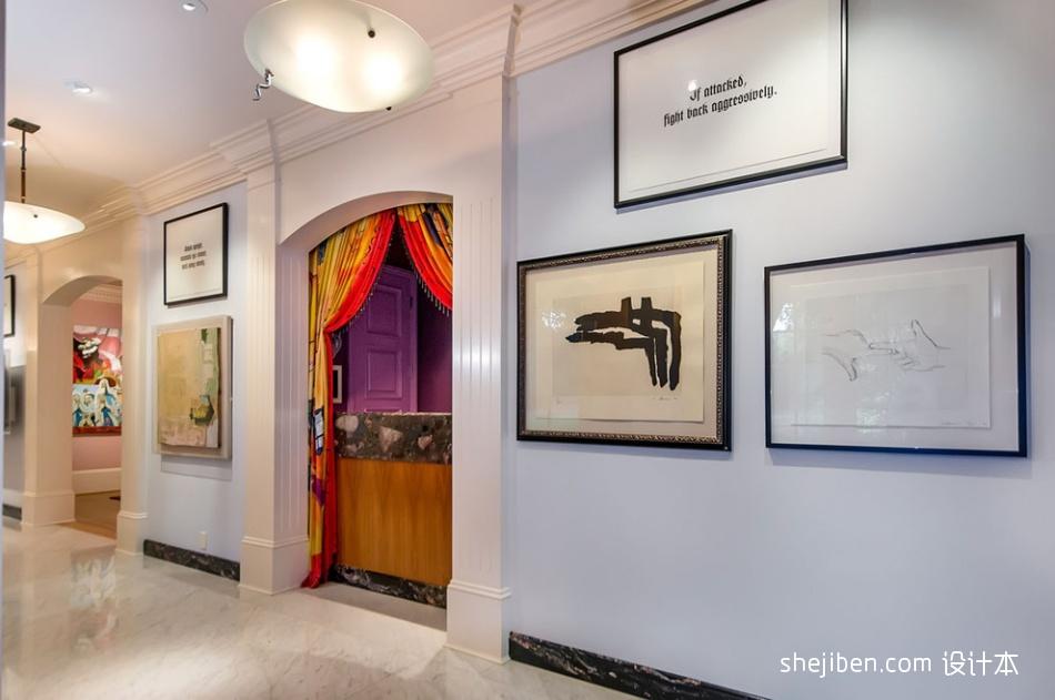 别墅设计现代过道挂画装饰装修效果图