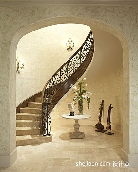2017美式风格别墅室内豪华旋转铁艺楼梯护栏装修效果