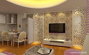 热门面积81平小户型客厅混搭装修设计效果图片