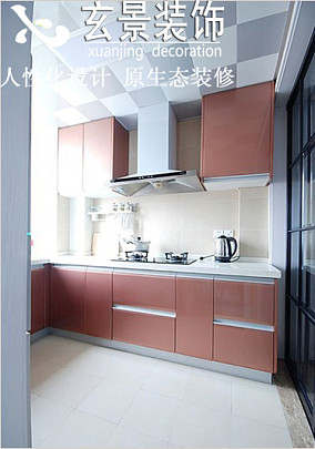 现代风格厨房烟粉橱柜装修效果图