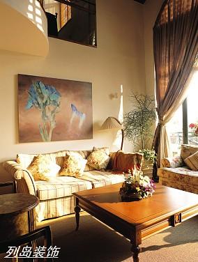 面积144平复式客厅美式装饰图