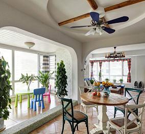 115平米地中海复式餐厅装修实景图片欣赏