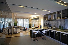 现代风格开放式厨房橱柜效果图