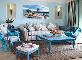 地中海二居客厅装修实景图片欣赏