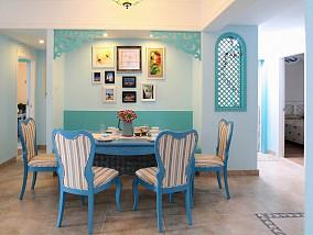 蓝色地中海风格餐厅装修效果图欣赏