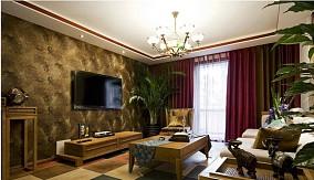 东南亚装修风格客厅背景墙效果图
