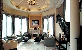 日式美式别墅客厅装修效果图