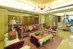 热门大小109平欧式三居客厅实景图
