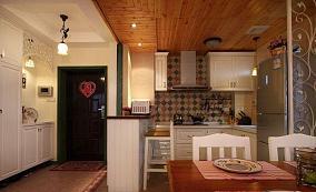 面积90平小户型厨房田园装修实景图