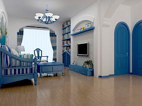精选面积87平小户型客厅地中海实景图片
