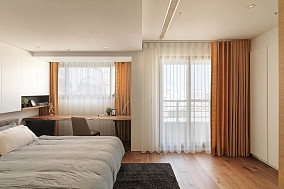 简约风格卧室双层窗帘图片欣赏