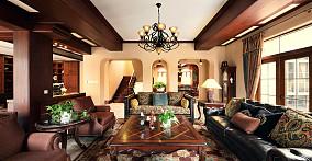 热门112平米美式别墅客厅实景图