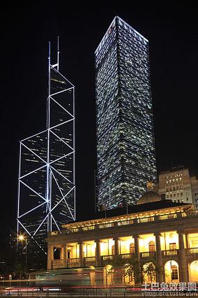 香港中环大厦夜景图片