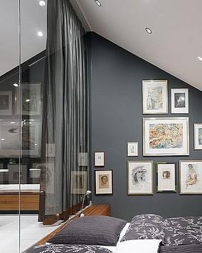 现代时尚复式室内照片墙装修效果图