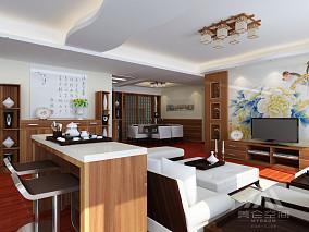 客厅沙发中式背景墙装修
