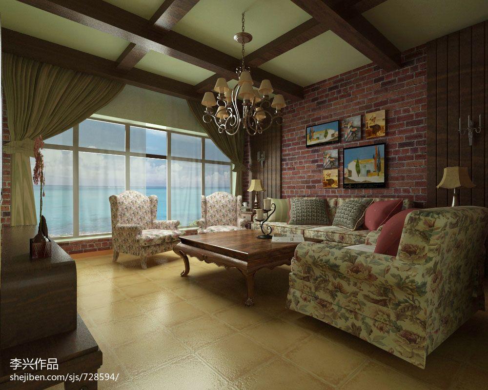 热门大小115平别墅客厅混搭装修设计效果图片