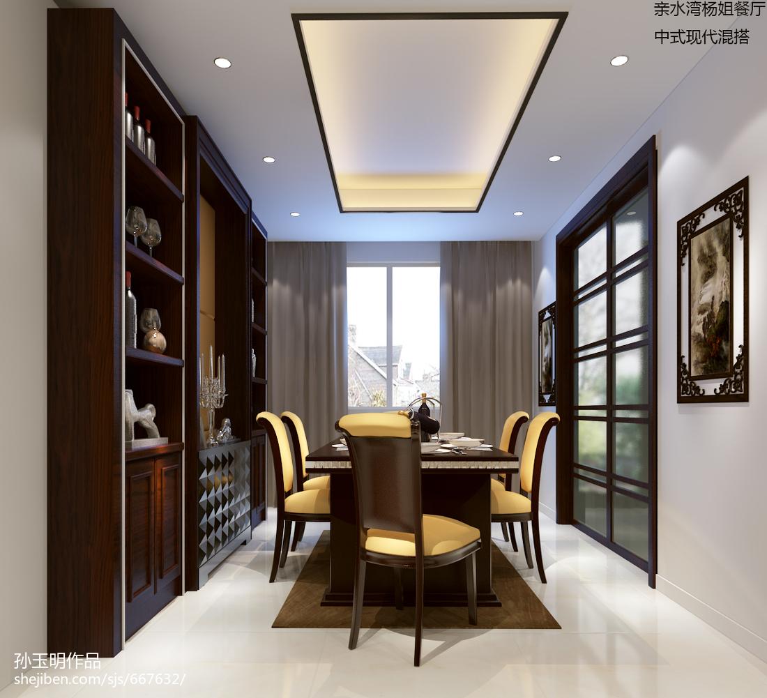 中式餐厅带酒柜效果图装修