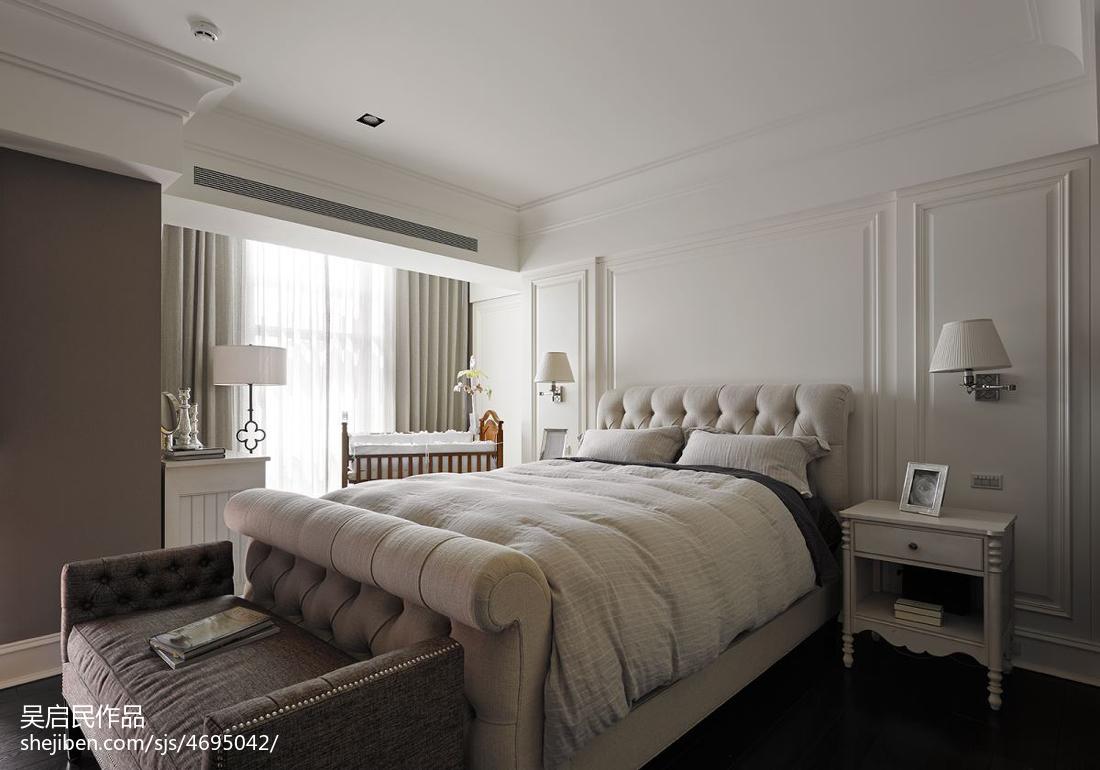 美式风格卧室白色造型背景墙效果图