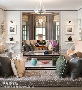 蓝色宜家布艺沙发设计
