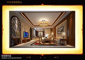140平方中式别墅客厅装修设计效果图片