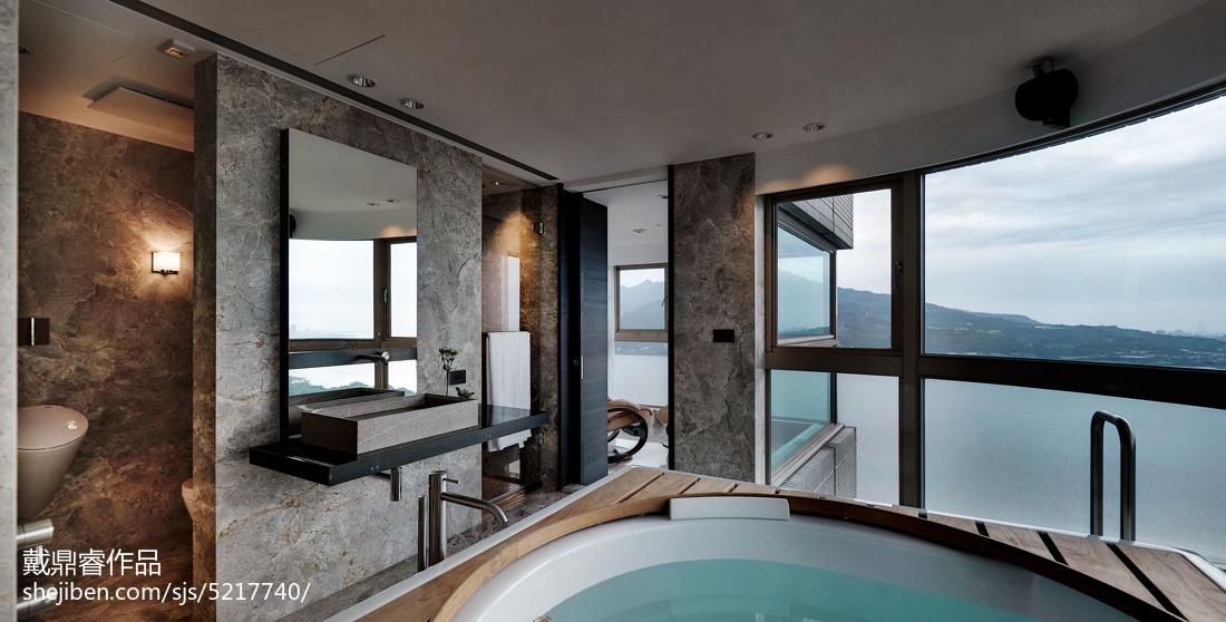 三居室混搭卫生间落地窗设计