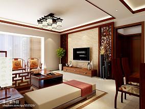 精美99平米三居客厅中式实景图片欣赏