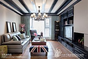 热门大小72平混搭二居客厅装修实景图