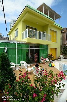 热门面积119平别墅花园地中海设计效果图