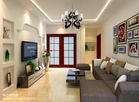 2018精选面积76平现代二居客厅效果图