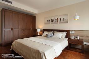 面积93平简约三居卧室实景图