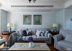 简洁98平美式二居客厅装修装饰图