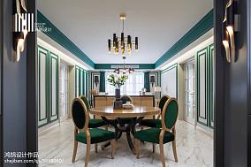 热门面积92平美式三居餐厅效果图片大全
