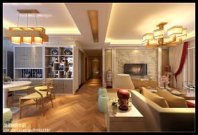 热门99.2平米3室客厅混搭装修实景图片欣赏