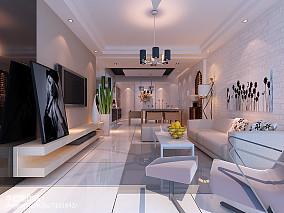 质朴133平简约三居客厅装修装饰图