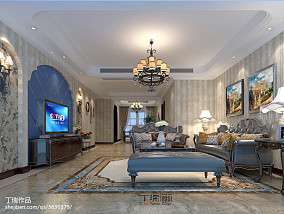 悠雅133平美式三居客厅装修图