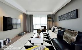 2018精选面积105平简约三居客厅实景图