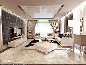 低调客厅灰色窗帘图片