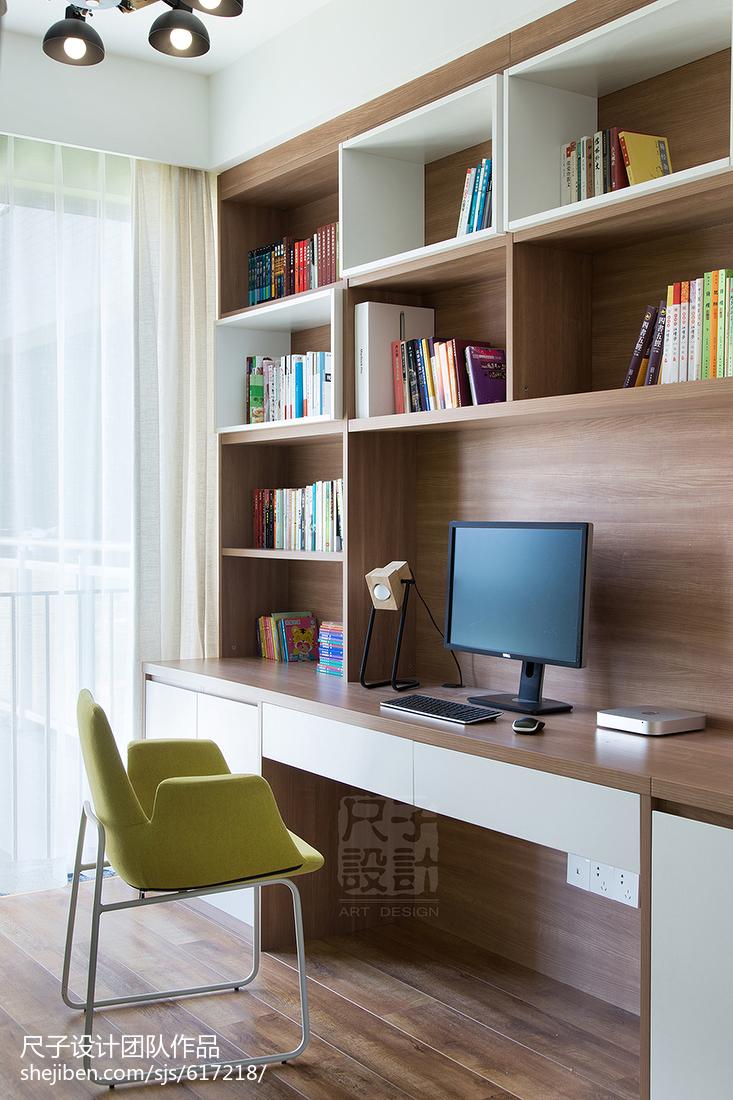 现代风格书柜书桌一体设计