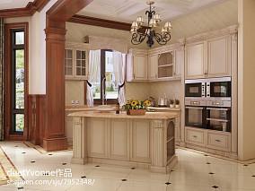 开放式厨房实木橱柜效果图欣赏