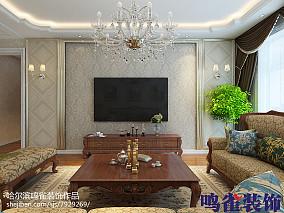 2018精选面积78平欧式二居客厅装修设计效果图片欣赏