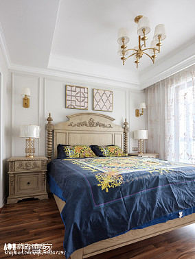 暖色系美式三居卧室设计图