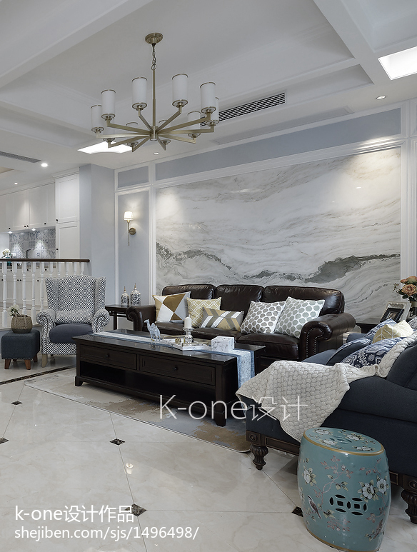 2018最新118平米美式别墅客厅装修设计效果图片欣赏