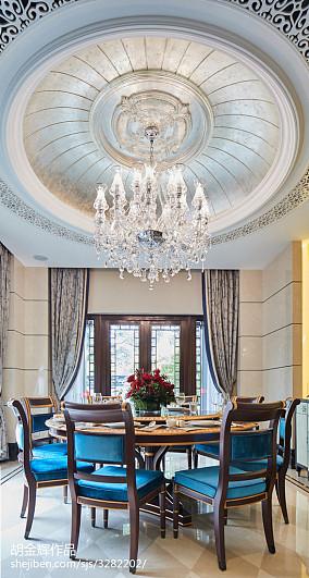 质朴641平新古典别墅餐厅实景图