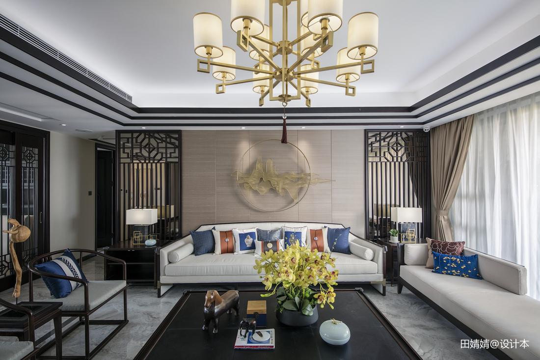 2018精选面积127平别墅客厅中式实景图片