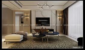 精美107平大小客厅三居现代装修效果图片